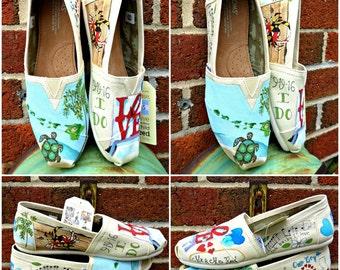 Bride's Love Story Wedding Shoes Wedding Flats Wedding Shoes Gift for Bride Shower Gift Beach Wedding Custom Wedding Shoes Painted Shoes