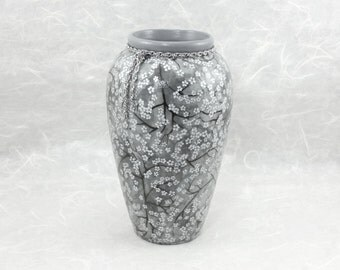 Decorative Vase in Gray with Silver Cherry Blossoms OOAK