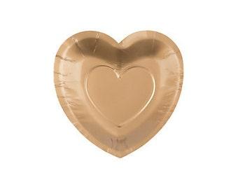 25 /Elegant Gold Heart Shaped Dessert plates /Wedding Plates/ Bridal Shower plates /