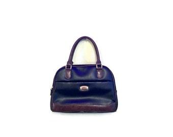 Vintage Black Leather Handbag BOHO HIPSTER 90s Rosetti purse Simple black bag