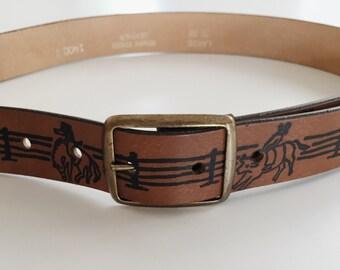 Vintage Leather Belt / Rodeo Belt / Leather Belt 27-30 / Horse, Cowboy / Brown Leather