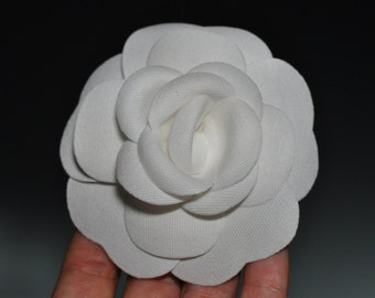 Cotton white Camellia Flower - for decoration or for use as pin, brooch, headband - made by Chanel