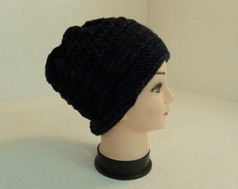 Handcrafted Beanie Hat Dark Blue Textured Slouchy Baby Merino Wool Female Adult