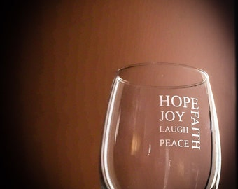 Inspirational Hope Stemless Wine Glass