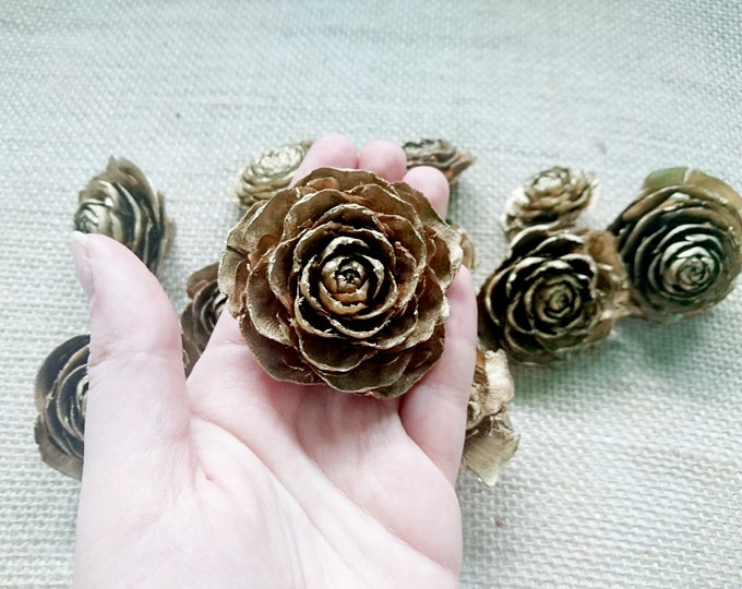 Cedar rose cone gold Wedding Flowers brown diy bouquet floral supply natural flowers rustic woodland winter 12 pcs 4 6 cm