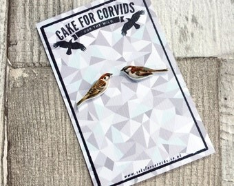 House Sparrow Earrings Stud Little Bird British Native Species