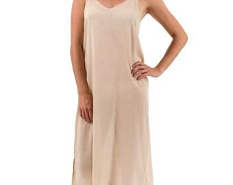 "Long Cotton Maxi Dress Slip - ""Celine""  Crema(Warm Beige)"