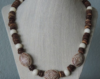 Island Necklace,  Brown Necklace,  Beach Necklace, Brown and Cream Necklace,  Shell Necklace, Nature Necklace,
