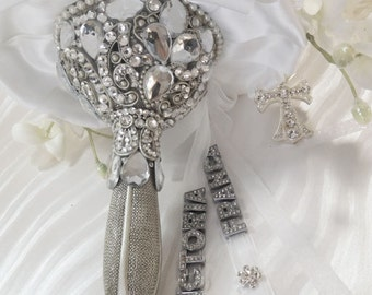 Swarovski Crystal  Bouquet Holder, Brooch Bouquet ,