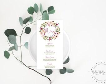 Printable Wedding Table Menu | Bohemian Botanicals Watercolor Floral | Bohemian Floral Menu | Drinks Menu | DIY Printable Menu