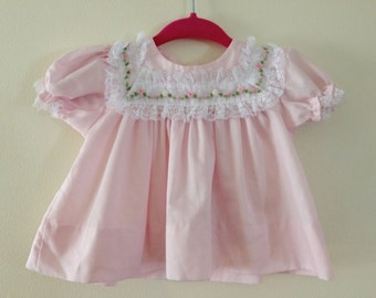Vintage Pink Lacy Baby Top - Newborn 6-10 lbs