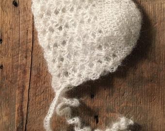 Newborn Bonnet, Newborn Hat, Newborn Photo Prop, Mohair Silk Newborn Bonnet, Baby Bonnet, Newborn Photography Prop, Newborn Photo Session