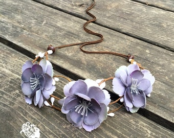 Flirty flower crown // Soft lavender flower headpiece for a hippie boho wedding // Floral headband accessory for women or teen // Hair Crown