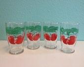 Vintage Hazel Atlas Juice Glasses - Drinking Glass Set Red Cherry Tomato Tomatoes - Mid-Century Kitsch Kitchen Decor - 1940s 1950s 1960s
