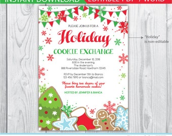 cookie exchange invite / cookie exchange invitations / cookie swap invitation / holiday cookie exchange invitation / cookie exchange party
