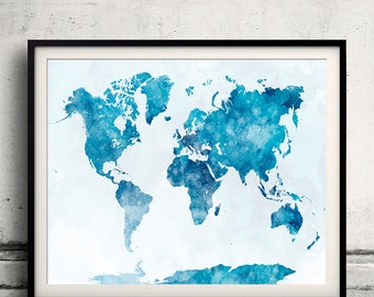 World map in watercolor 19 - Fine Art Print Glicee Poster Decor Home Gift Illustration Wall Art Countries Colorful - SKU 2332