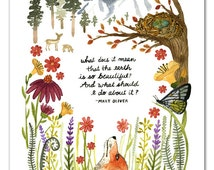 SALE 11 x 14 Mary Oliver Quote Watercolor Art Print, Nature Wall Art, Inspirational Quote, Fox Nursery Art, Wildlife, Wild flowers