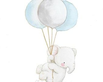 """Nursery Art """"LITTLE ELEPHANT with BALLOONS"""" Archival Print, Children's Illustration. Kid's Balloon Art."""