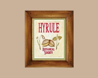 Hyrule Botanical Society - Legend of Zelda Art Print - Vintage Botanical Scientific Illustration - Nintendo Video Game Geek, Epona Deku Nuts