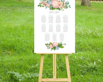 Seating Chart Table Names Wedding Sign . Printed on Heavy Paper, Foam Board or Canvas . Pink Blush Peony Peach Rose Succulents Ranunculus