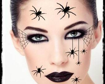 Temporary Tattoo Spider Halloween Costume Face Spiders Fake Tattoos Realistic Thin Durable