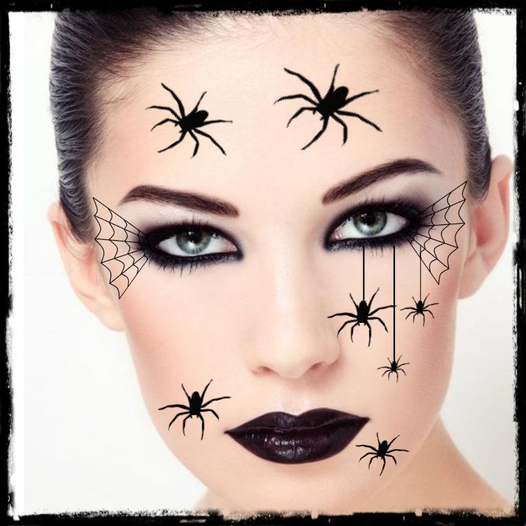 Temporary tattoo spider halloween costume face spiders fake for Halloween temporary tattoos