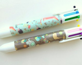 6 colors ballpoints with cute critters, set of 2
