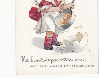 Artist Wuyt Girl Loves Eggs/ Scrambled Eggs/Whimsical Postcard 1920s Must See