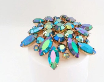 Weiss turquoise green purple brooch pin aurora borealis large