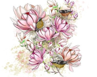 Magnolia watercolor print in 2 sizes. Pink flowers as a spring gift or for your spring decor