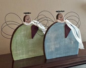 Whimsical Primitive Small Spring Angels – Handmade - Solid Wood - Wall Hanging or Shelf Sitter - FAAP, HAFAIR, OFG, TeamHaHa