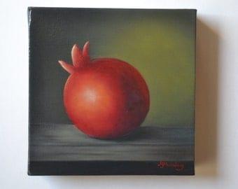 SALE 6x6' acrylic small still life painting, pomegranate painting, fruit painting, food painting, kitchen painting, miniature, tiny food art