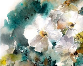 White Blooming, Watercolor Painting Art Print, Floral Watercolor Print
