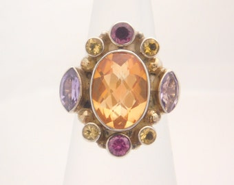 Ladies Multi-Colored Birthstone Ring Sterling Silver Size 6