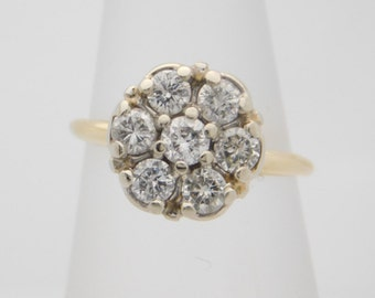 1.00 Carat Total Weight Round Cut Diamond Cluster Ring 10K Yellow Gold