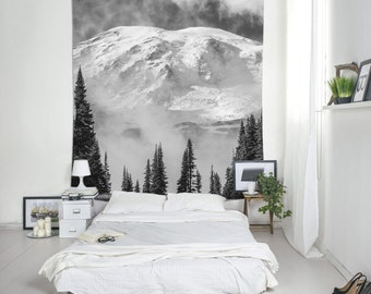 Mountain Wall Decor, Mountain Tapestry, Black And White, Nature Tapestries, Pine Trees Print, Wall Decoration. MW023