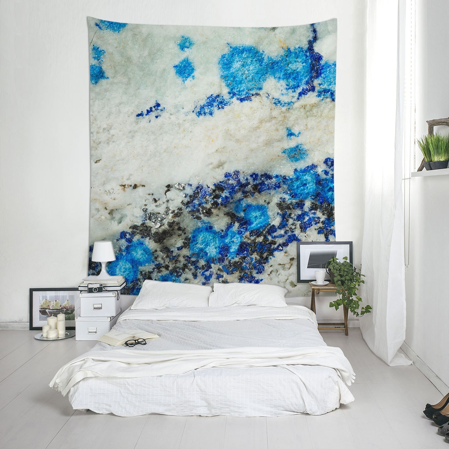 Textured tapestry azurite mineral abstract wall decor blue for Mineral wall
