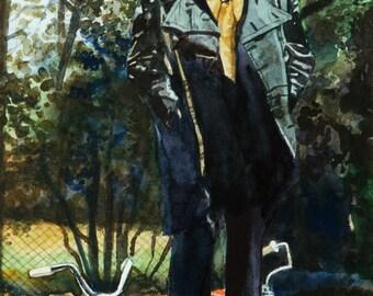 Marvin Gaye portrait watercolor print. Marvin Gaye painting. Musician portrait. Bicycle painting. Watercolor painting. Marvin Gaye picture.