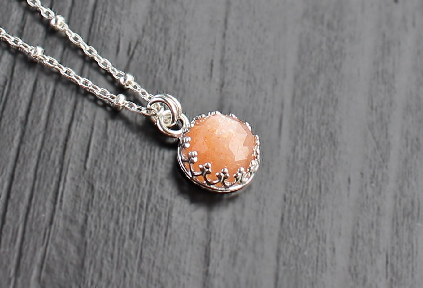 Peach Moonstone Necklace moonstone bezel necklace 8mm