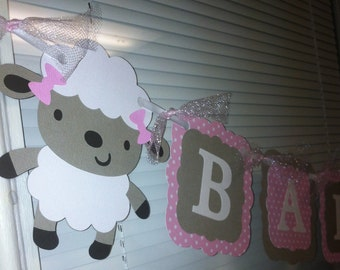 Lamb Baby shower banner, Lamb birthday banner, lamb shower, girl lamb banner, lamb centerpiece sticks
