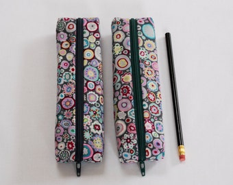 Grey Modern Zippered Pencil Pouch - Pencil Case