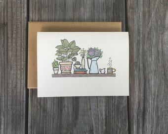Plant Note Card Set, Handmade Stationery Set, Set of 10 Plant Cards, Succulent Card