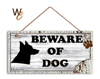 "ON SALE Beware of Dog Sign, Rustic Decor, Dog Bite Sign, White Distressed Wood Sign, Dog Silhouette, Weatherproof, 5"" x 10"" Sign, Made To Or"
