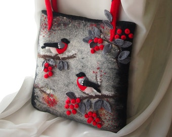Felted wool bag-Felted wool purse-Bullfinches-Felted purse-Felt handbag-Natural Leather handles-Felt bag-Red,Black