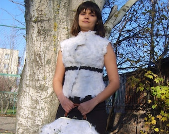 Nuno felt clothing-Fur vest-White Alpaca Felt vest-Woman wool vest-Woman wool clothing
