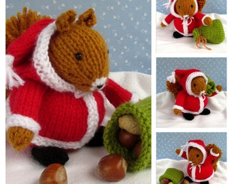 SANTA SQUIRREL - knitted squirrel knitting pattern - Instant Digital Download - PDF