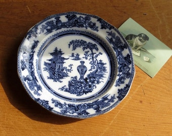 Antique Ironstone Flow Blue Plate, Serving Dish, Adams England, Chinoiserie Orientalia, Flo Blue and White Dinnerware, Pagoda Garden