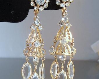 Juliana Rhinestone Earrings, Open Bezel Set Crystal, Clip On Dangle Chandelier