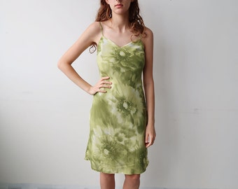 Pale Green Floral 90s Mini Dress