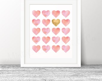 Valentines Gold Heart Print Art Print, Pink Watercolor Hearts Nursery Digital Printable Decor, INSTANT Download, Digital 11x14 8x10 Print